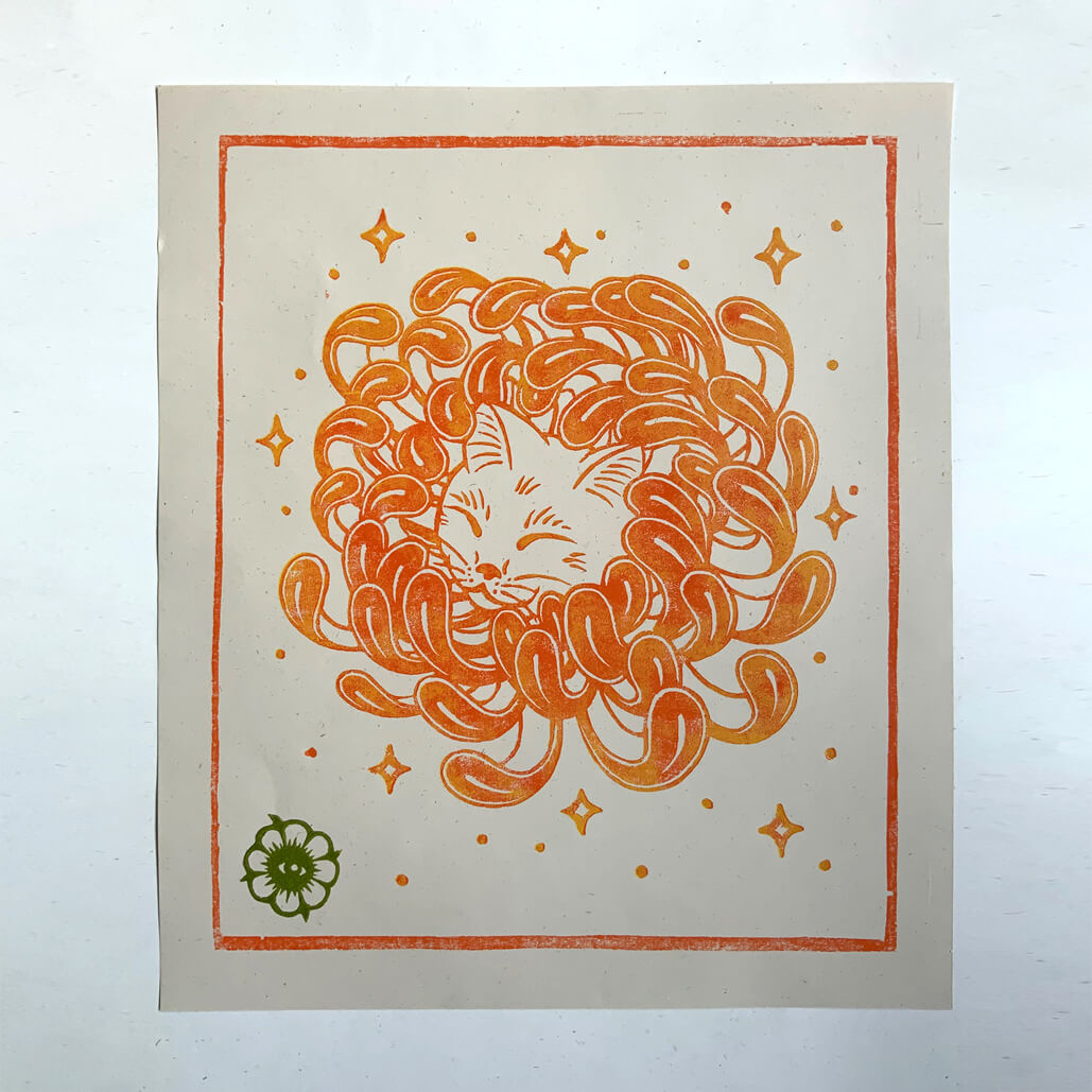 Chrysanthemum Cat – Woodblock Print