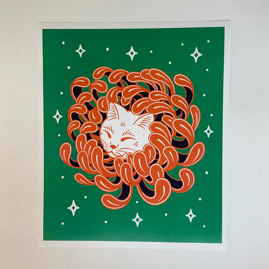 Chrysanthemum Cat – Laser Print